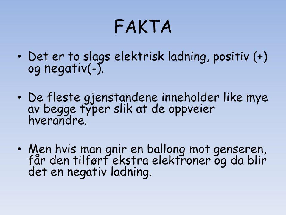 FAKTA • Det er to slags elektrisk ladning, positiv (+) og negativ (-). • De fleste gjenstandene inneholder like mye av begge typer slik at de oppveier