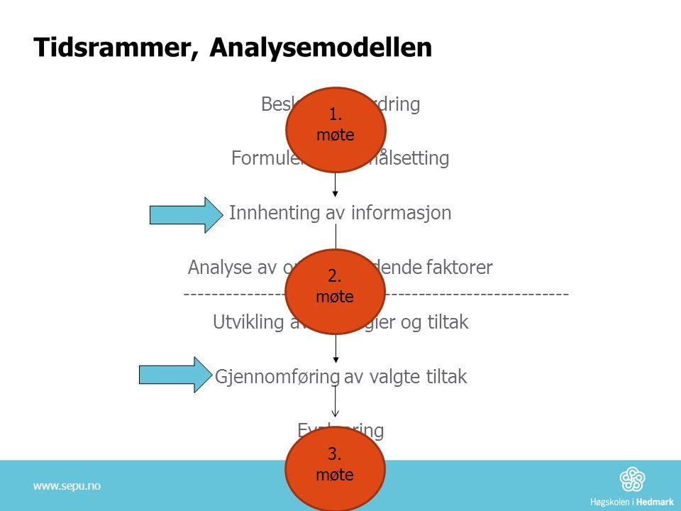 Tidsrammer, Analysemodellen Beskrive utfordring Formulering av målsetting Innhenting av informasjon Analyse av opprettholdende faktorer --------------