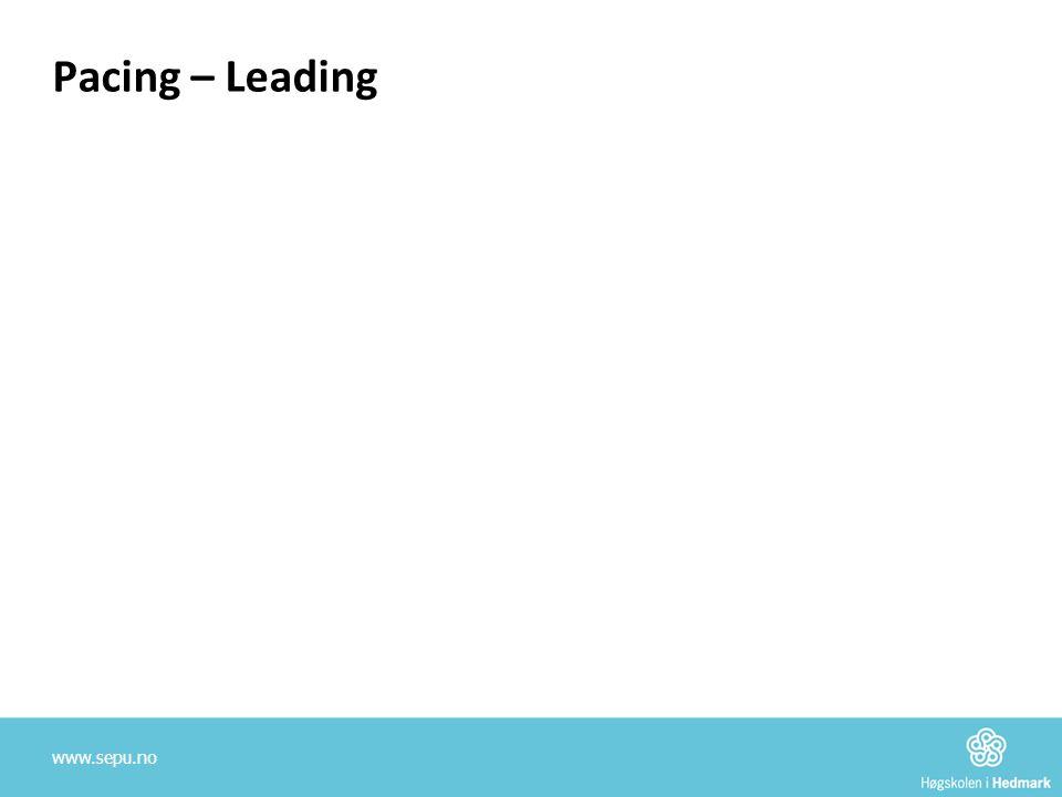 Pacing – Leading – Pacing – Leading •Pacing:  Anerkjennende kommunikasjon.