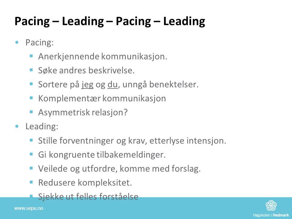 Pacing – Leading – Pacing – Leading •Pacing:  Anerkjennende kommunikasjon.  Søke andres beskrivelse.  Sortere på jeg og du, unngå benektelser.  Ko
