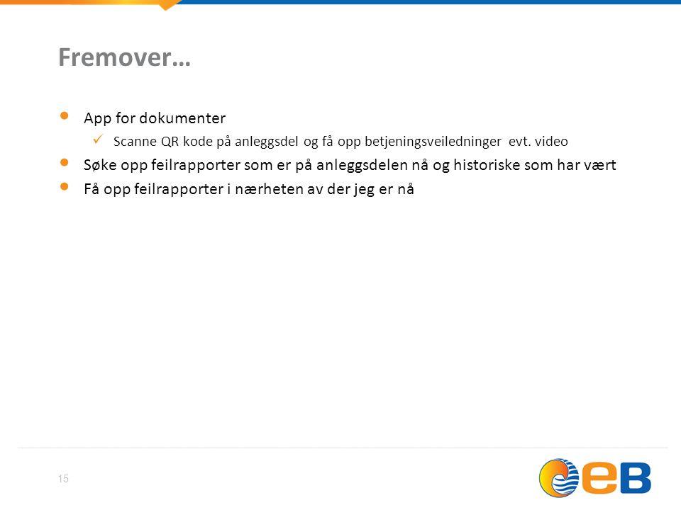 15 Fremover… • App for dokumenter  Scanne QR kode på anleggsdel og få opp betjeningsveiledninger evt. video • Søke opp feilrapporter som er på anlegg