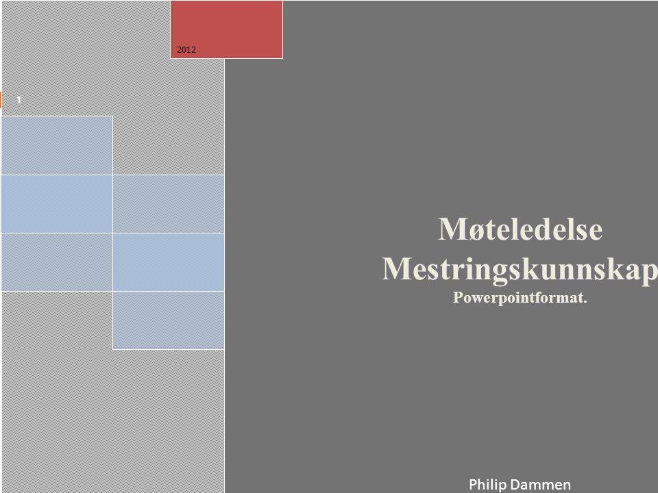 Møteledelse Mestringskunnskap Powerpointformat. Philip Dammen Norges Musikkhøgskole 2012 1