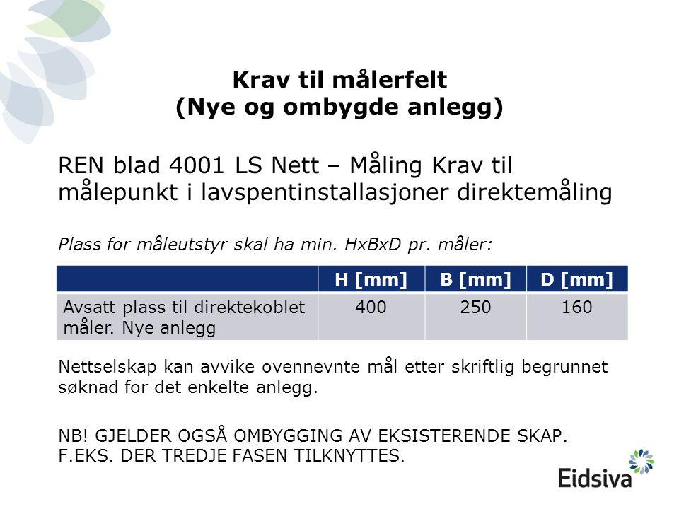 Krav til målerfelt (Nye og ombygde anlegg) REN blad 4001 LS Nett – Måling Krav til målepunkt i lavspentinstallasjoner direktemåling Plass for måleutst