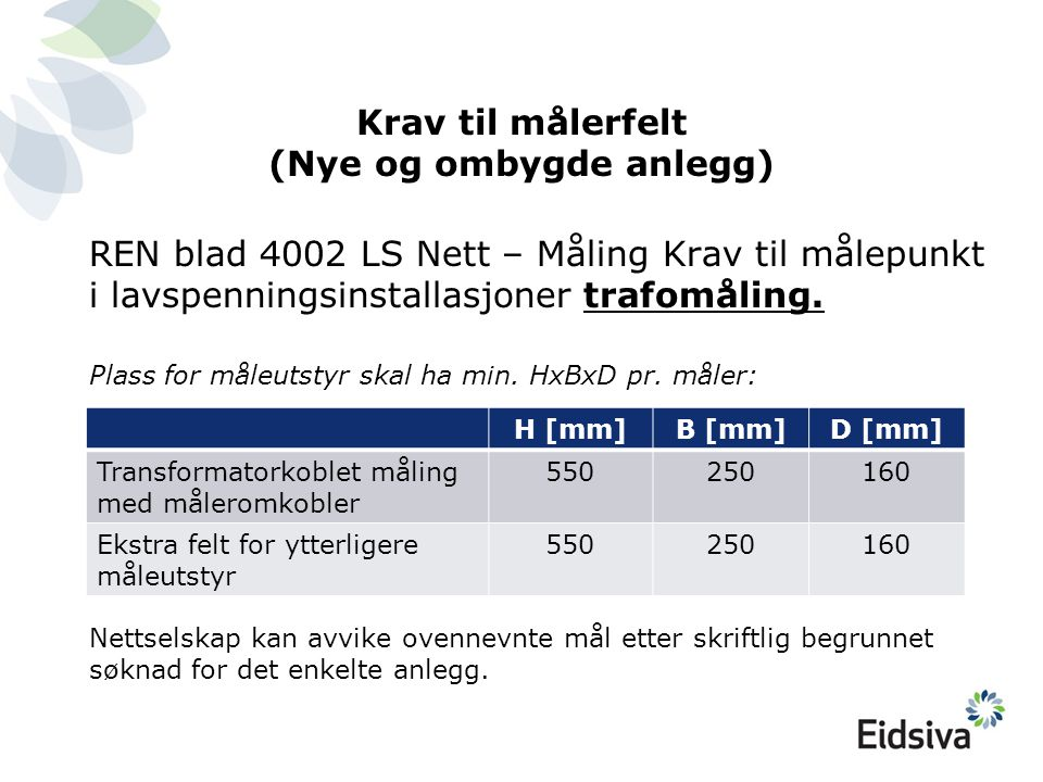 Krav til målerfelt (Nye og ombygde anlegg) REN blad 4002 LS Nett – Måling Krav til målepunkt i lavspenningsinstallasjoner trafomåling. Plass for måleu