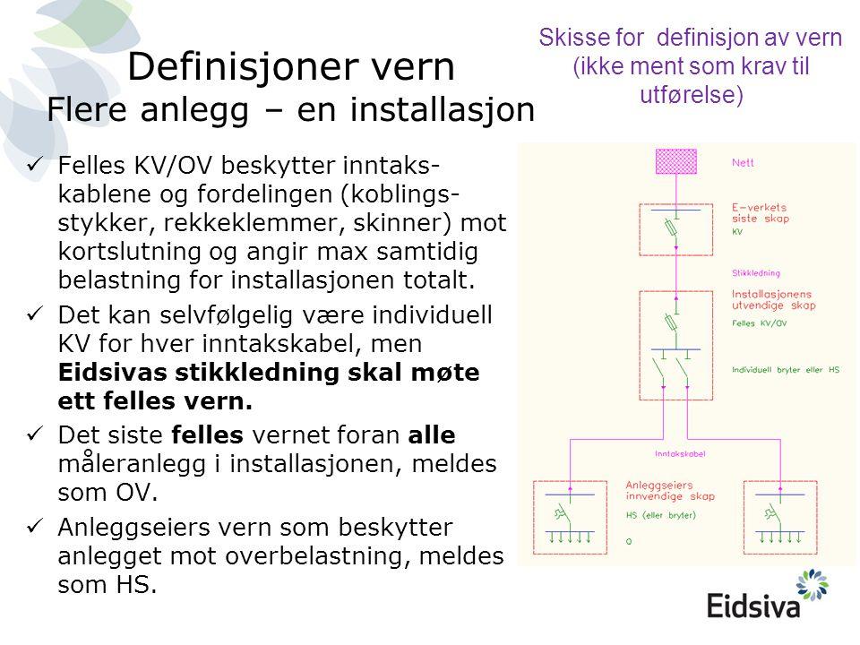 Definisjoner vern Flere anlegg – en installasjon  Felles KV/OV beskytter inntaks- kablene og fordelingen (koblings- stykker, rekkeklemmer, skinner) m