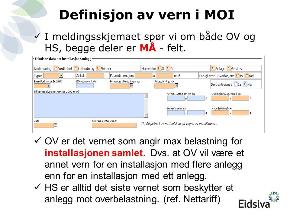 Definisjon av vern i MOI  I meldingsskjemaet spør vi om både OV og HS, begge deler er MÅ - felt.  OV er det vernet som angir max belastning for inst