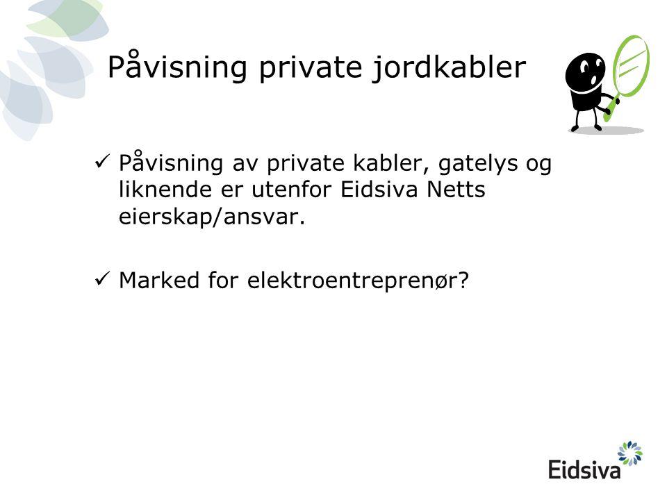 Påvisning private jordkabler  Påvisning av private kabler, gatelys og liknende er utenfor Eidsiva Netts eierskap/ansvar.  Marked for elektroentrepre