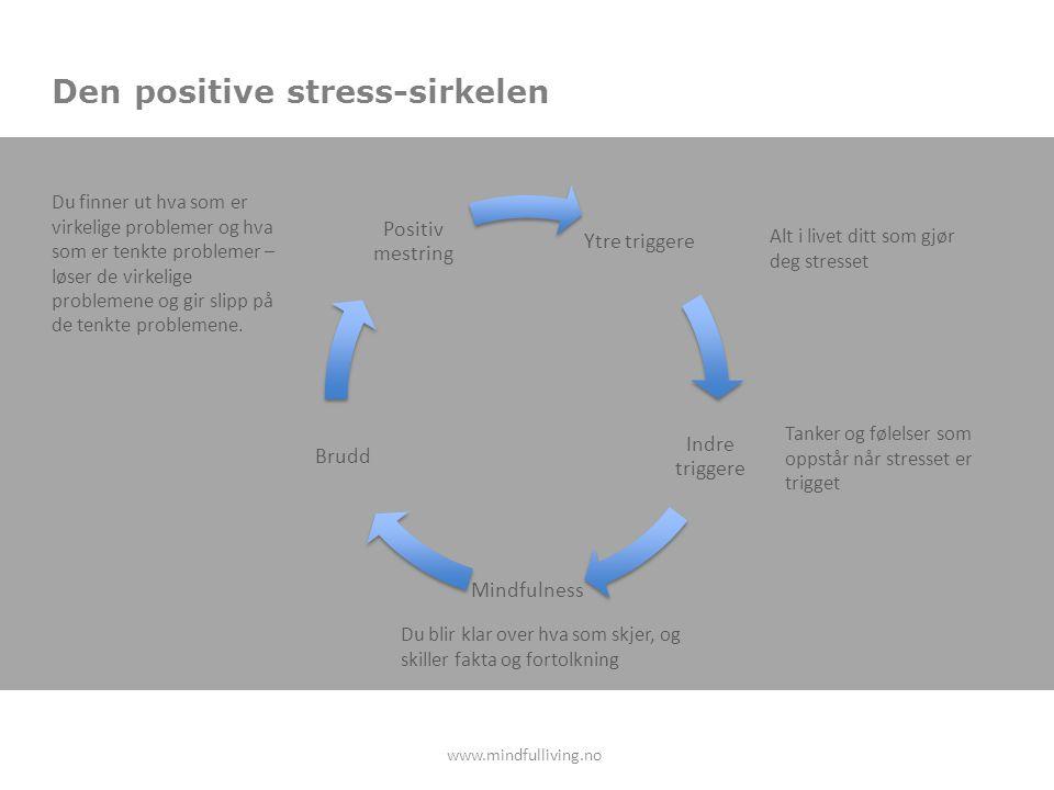 Den positive stress-sirkelen Ytre triggere Indre triggere Mindfulness Brudd Positiv mestring Alt i livet ditt som gjør deg stresset Tanker og følelser som oppstår når stresset er trigget Du blir klar over hva som skjer, og skiller fakta og fortolkning Du finner ut hva som er virkelige problemer og hva som er tenkte problemer – løser de virkelige problemene og gir slipp på de tenkte problemene.