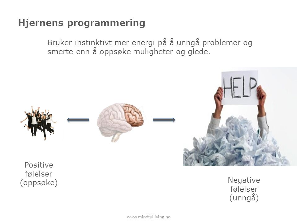 Hjernens programmering www.mindfulliving.no Positive følelser (oppsøke) Negative følelser (unngå) Bruker instinktivt mer energi på å unngå problemer og smerte enn å oppsøke muligheter og glede.