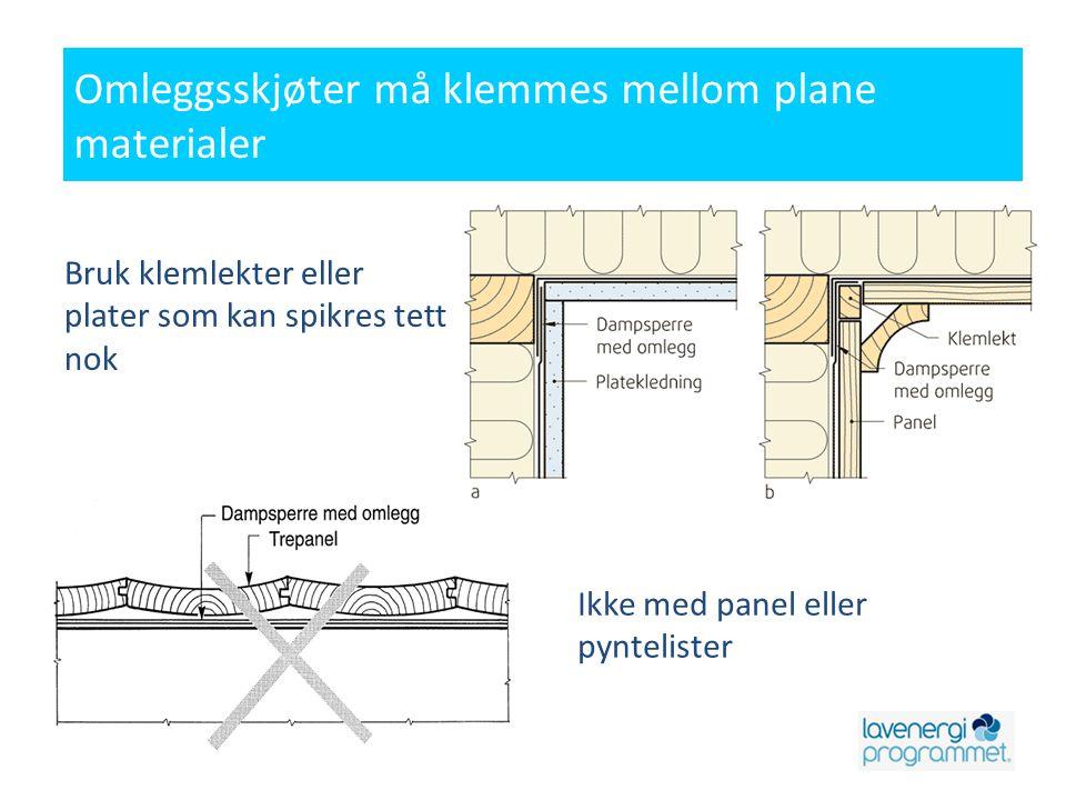 Ikke med panel eller pyntelister Omleggsskjøter må klemmes mellom plane materialer Bruk klemlekter eller plater som kan spikres tett nok