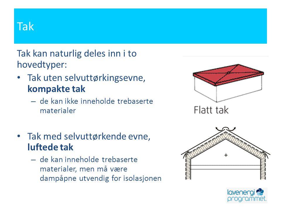 Tak Tak kan naturlig deles inn i to hovedtyper: • Tak uten selvuttørkingsevne, kompakte tak – de kan ikke inneholde trebaserte materialer • Tak med se
