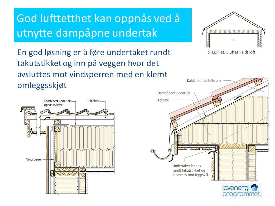 God lufttetthet kan oppnås ved å utnytte dampåpne undertak En god løsning er å føre undertaket rundt takutstikket og inn på veggen hvor det avsluttes