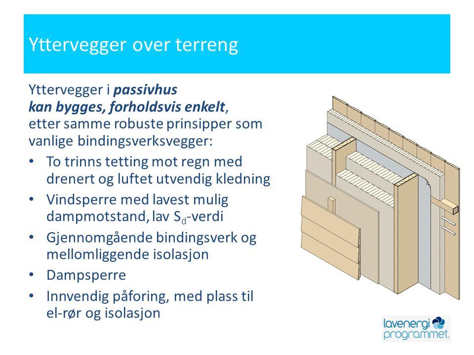 Yttervegger over terreng Yttervegger i passivhus kan bygges, forholdsvis enkelt, etter samme robuste prinsipper som vanlige bindingsverksvegger: • To