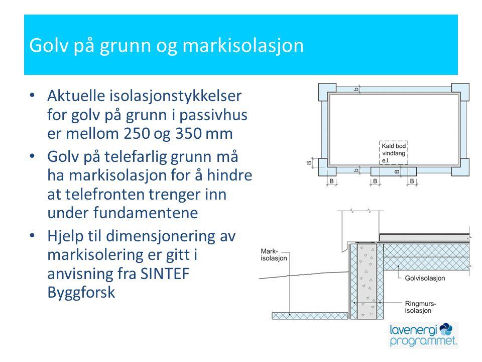 Golv på grunn og markisolasjon • Aktuelle isolasjonstykkelser for golv på grunn i passivhus er mellom 250 og 350 mm • Golv på telefarlig grunn må ha m