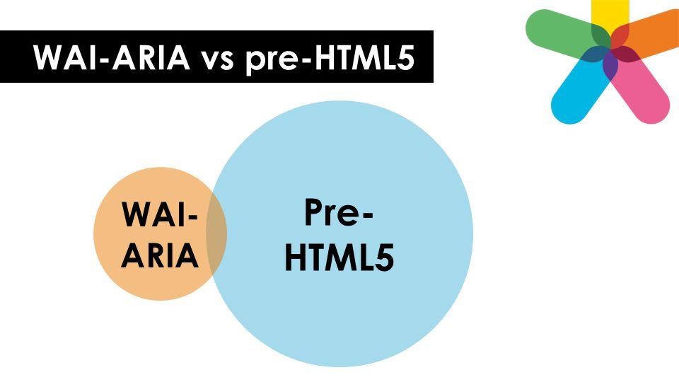 WAI-ARIA vs pre-HTML5 Pre- HTML5 WAI- ARIA