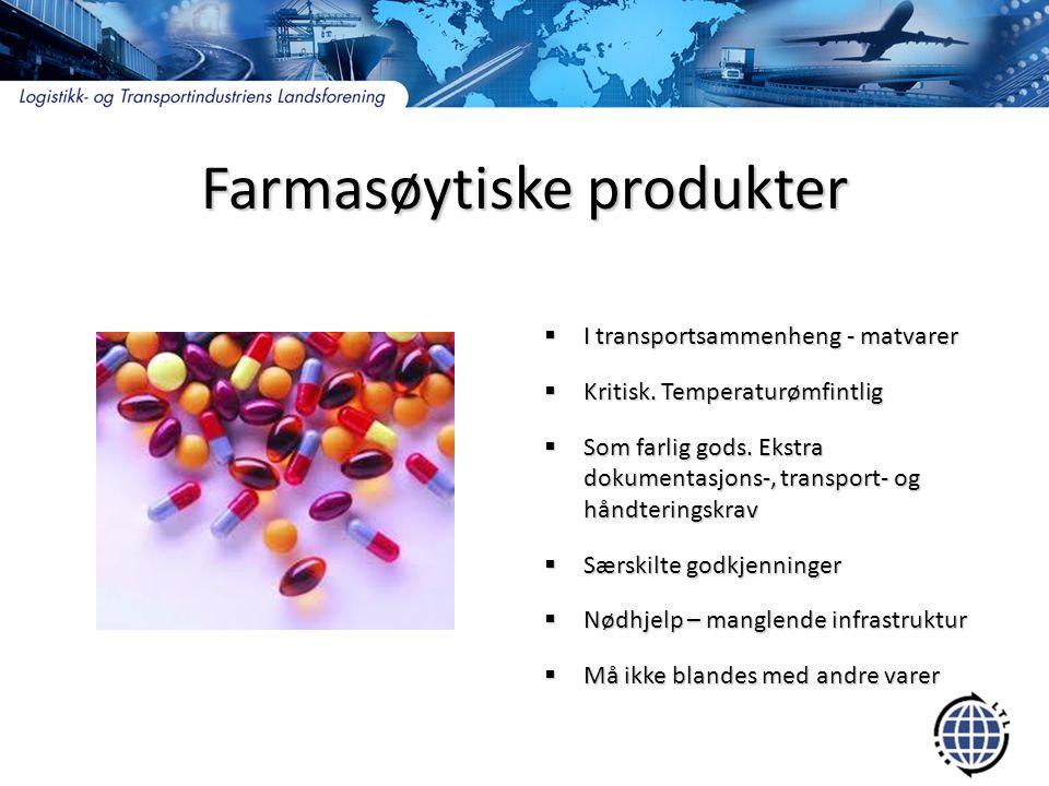 Militære produkter  Norge betydelig eksportør  Restriktive import og eksportkrav  USA med eksportkontrollmyndighet utenfor egne grenser, men tilrådelig å etterleve  Restriksjoner på hvilke flyplasser, havner og veiruter som kan benyttes