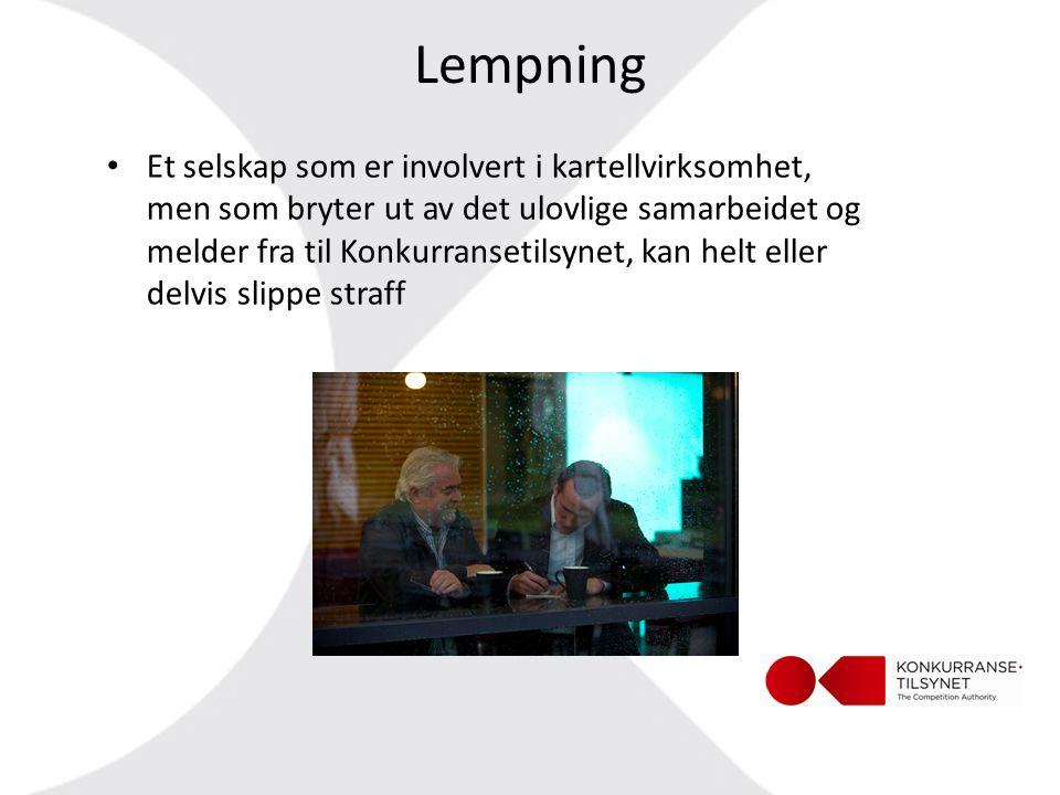 Lempning • Et selskap som er involvert i kartellvirksomhet, men som bryter ut av det ulovlige samarbeidet og melder fra til Konkurransetilsynet, kan h