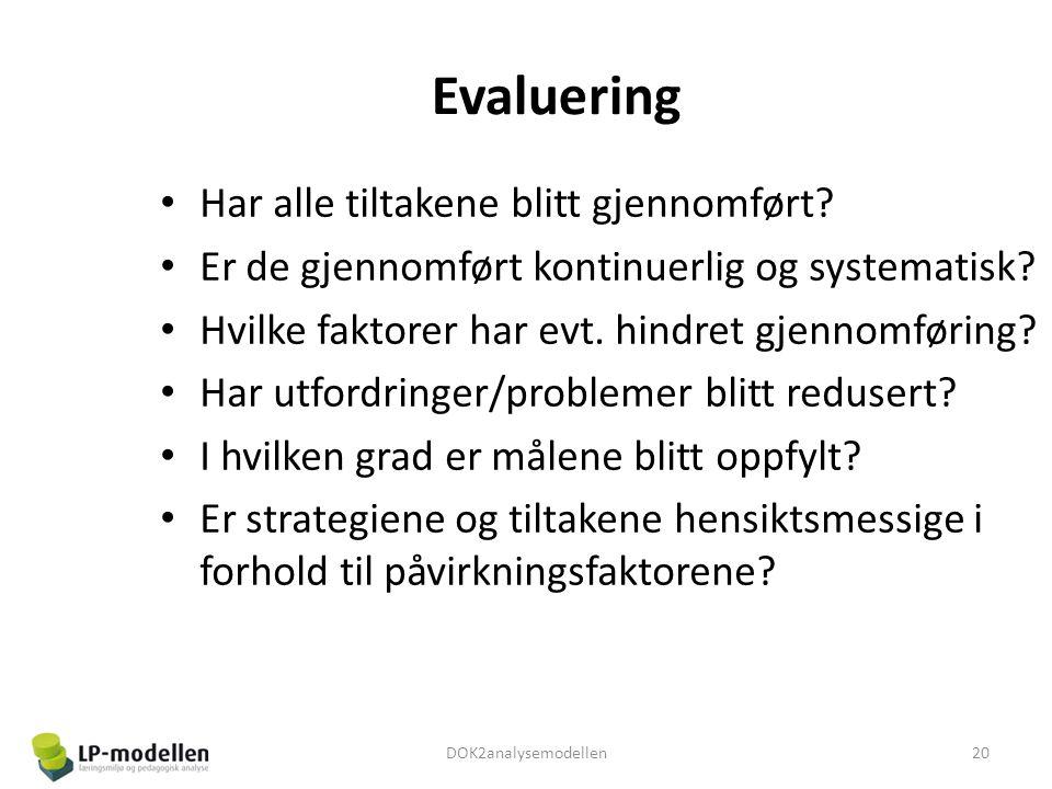 Evaluering • Har alle tiltakene blitt gjennomført? • Er de gjennomført kontinuerlig og systematisk? • Hvilke faktorer har evt. hindret gjennomføring?