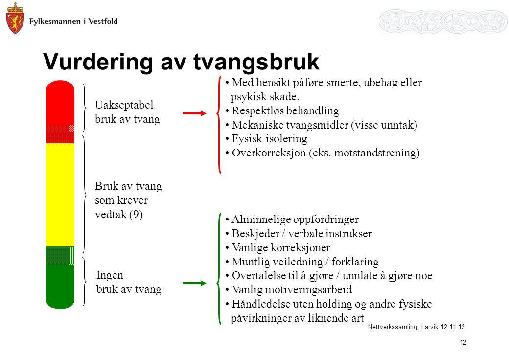 Vurdering av tvangsbruk Uakseptabel bruk av tvang Ingen bruk av tvang Bruk av tvang som krever vedtak (9) • Med hensikt påføre smerte, ubehag eller ps