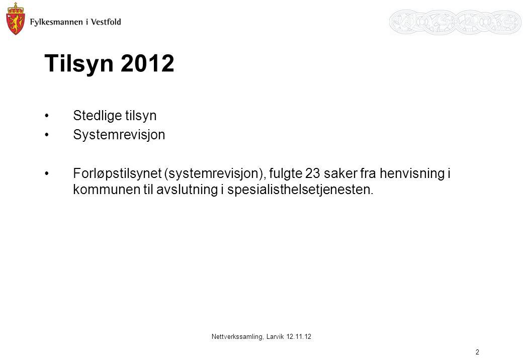 Tilsyn 2012 •Stedlige tilsyn •Systemrevisjon •Forløpstilsynet (systemrevisjon), fulgte 23 saker fra henvisning i kommunen til avslutning i spesialisth