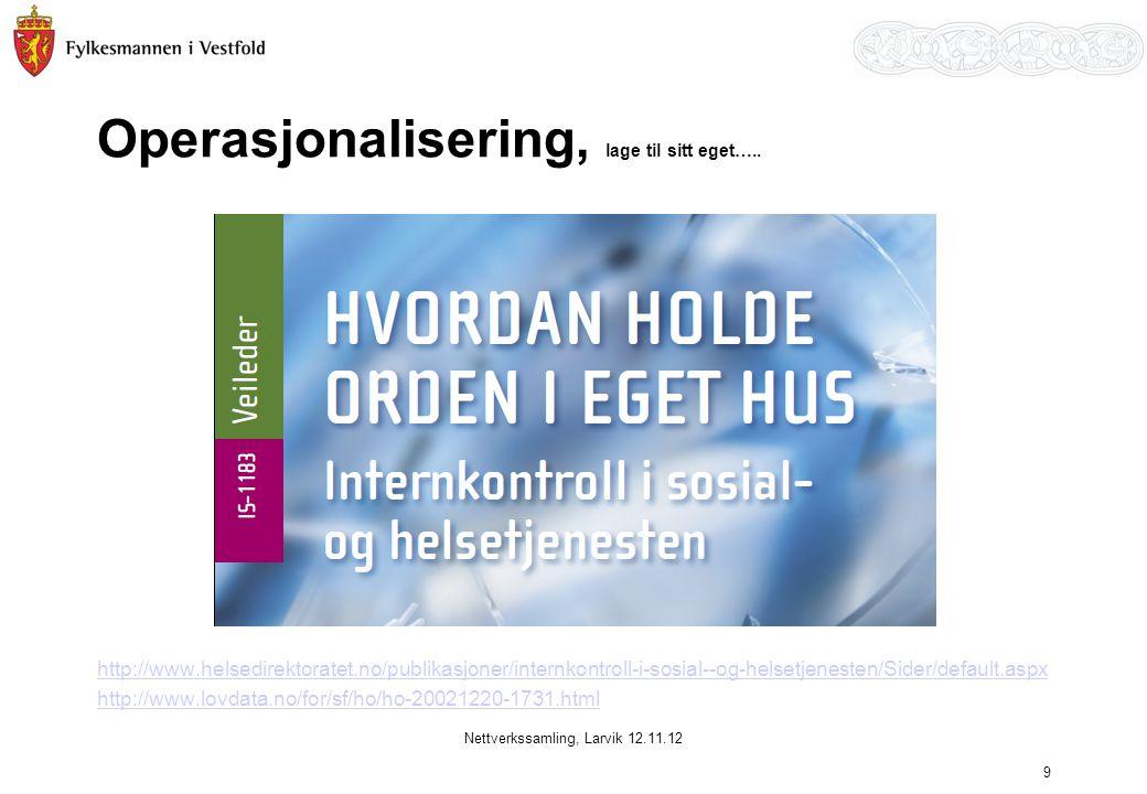 Operasjonalisering, lage til sitt eget….. http://www.helsedirektoratet.no/publikasjoner/internkontroll-i-sosial--og-helsetjenesten/Sider/default.aspx