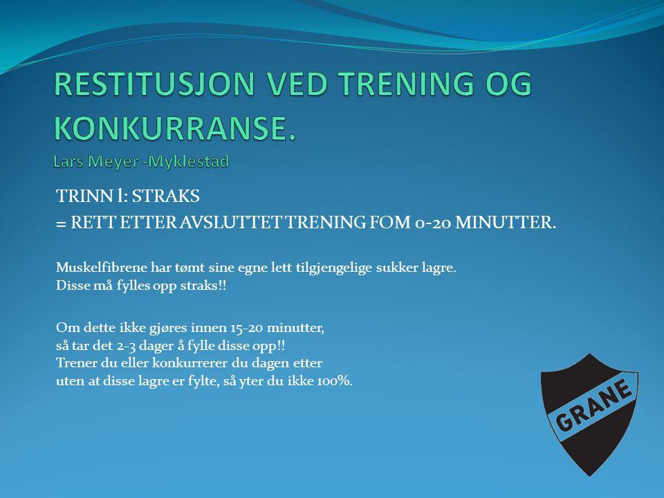 TRINN l: STRAKS = RETT ETTER AVSLUTTET TRENING FOM 0-20 MINUTTER.
