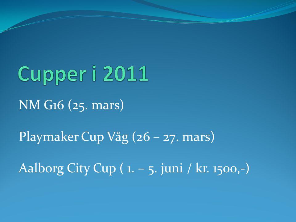 NM G16 (25. mars) Playmaker Cup Våg (26 – 27. mars) Aalborg City Cup ( 1. – 5. juni / kr. 1500,-)