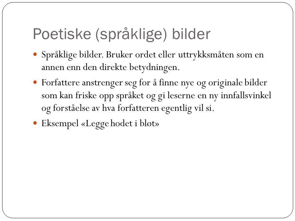Poetiske (språklige) bilder  Språklige bilder. Bruker ordet eller uttrykksmåten som en annen enn den direkte betydningen.  Forfattere anstrenger seg