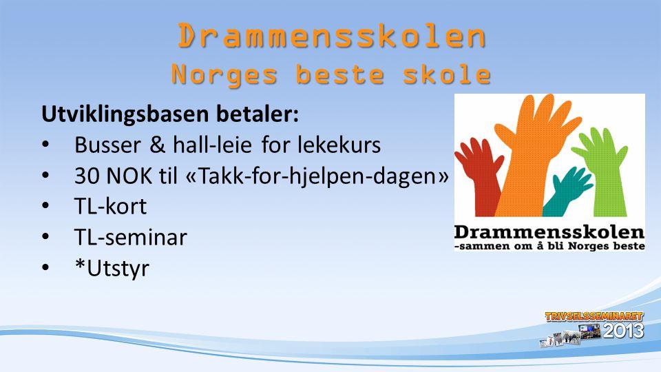 Utviklingsbasen betaler: • Busser & hall-leie for lekekurs • 30 NOK til «Takk-for-hjelpen-dagen» • TL-kort • TL-seminar • *Utstyr Drammensskolen Norge