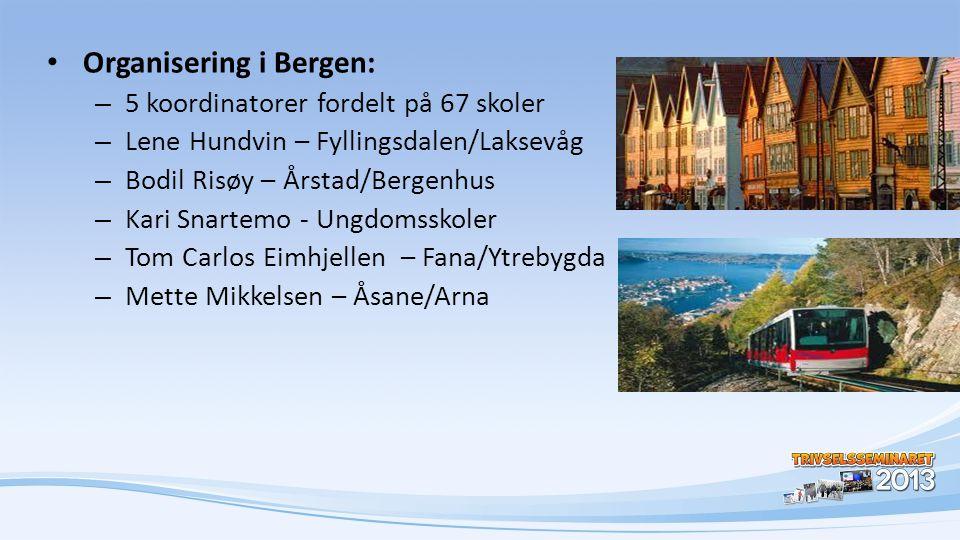 • Organisering i Bergen: – 5 koordinatorer fordelt på 67 skoler – Lene Hundvin – Fyllingsdalen/Laksevåg – Bodil Risøy – Årstad/Bergenhus – Kari Snarte
