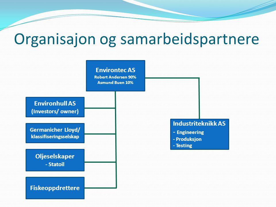Organisajon og samarbeidspartnere Environtec AS Robert Andersen 90% Asmund Buen 10% Environhull AS (Investors/ owner) Germanicher Lloyd/ klassifiserin