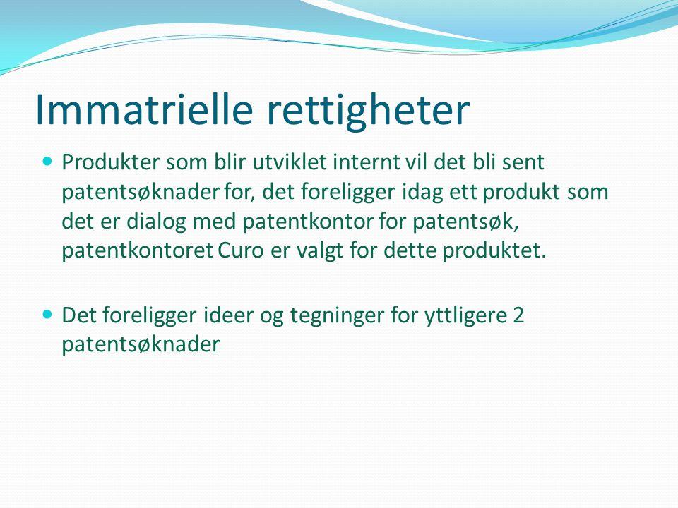 Immatrielle rettigheter  Produkter som blir utviklet internt vil det bli sent patentsøknader for, det foreligger idag ett produkt som det er dialog m