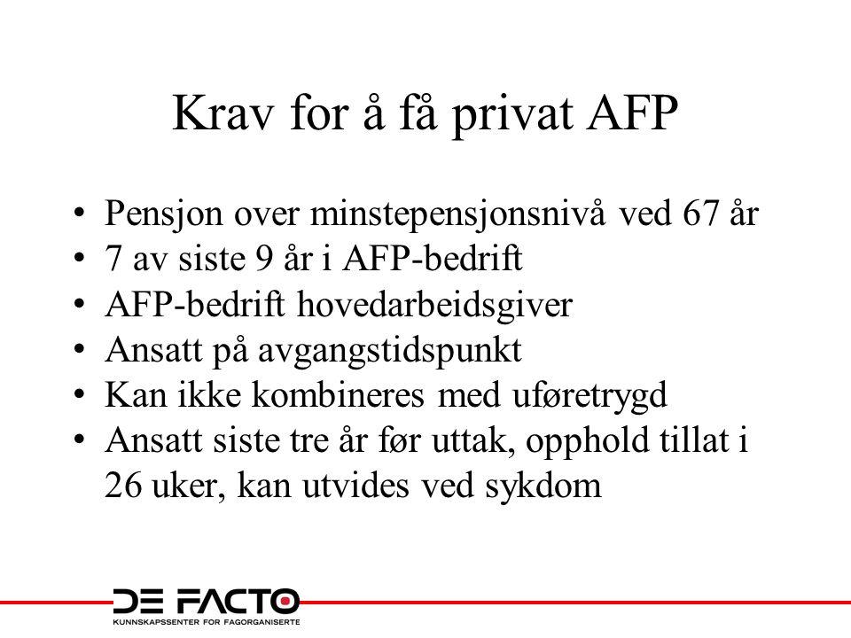 Krav for å få privat AFP • Pensjon over minstepensjonsnivå ved 67 år • 7 av siste 9 år i AFP-bedrift • AFP-bedrift hovedarbeidsgiver • Ansatt på avgan