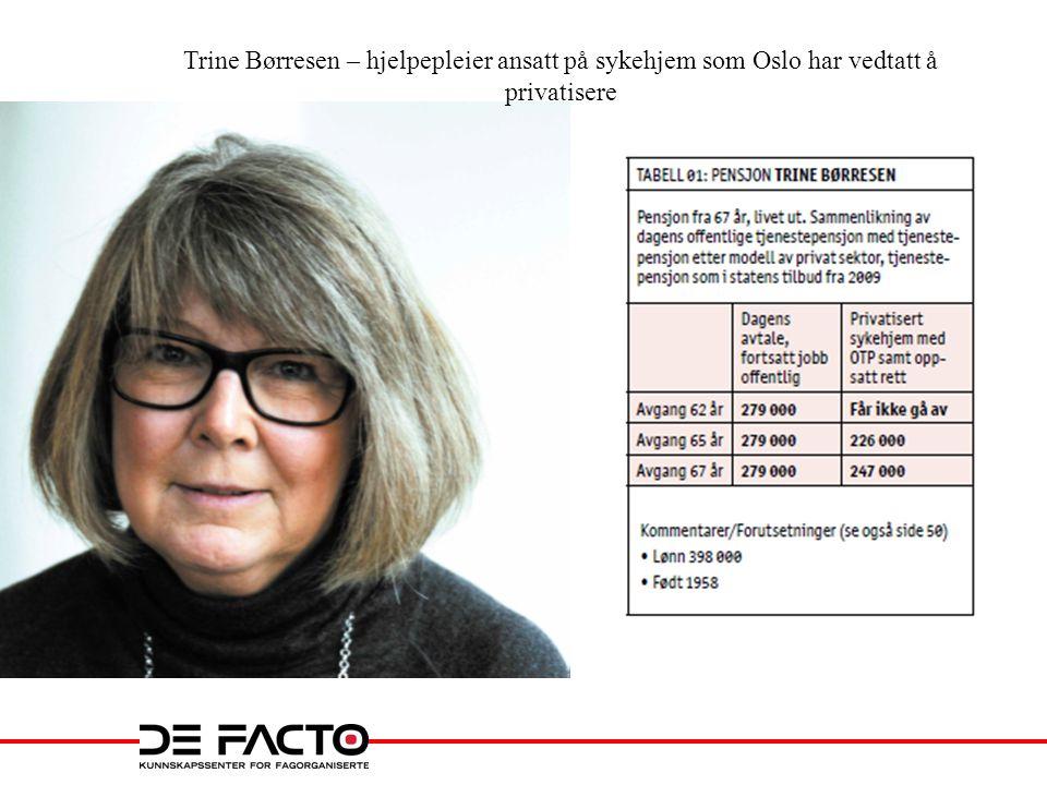 Trine Børresen – hjelpepleier ansatt på sykehjem som Oslo har vedtatt å privatisere