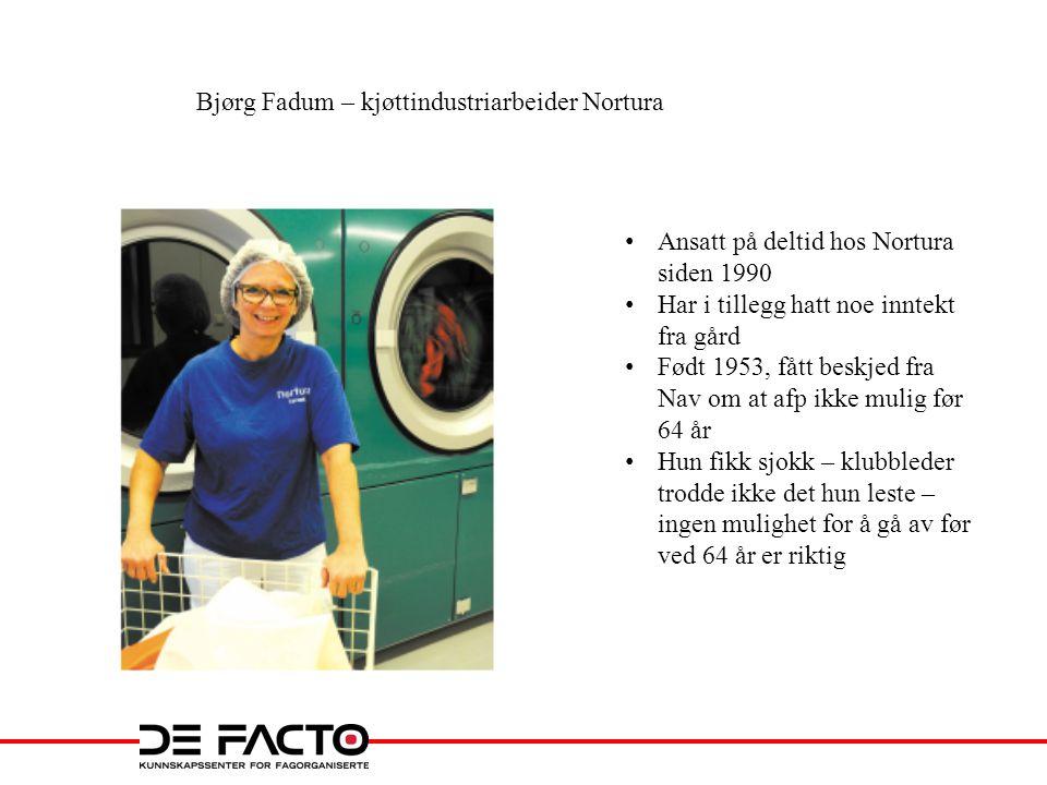 Bjørg Fadum – kjøttindustriarbeider Nortura • Ansatt på deltid hos Nortura siden 1990 • Har i tillegg hatt noe inntekt fra gård • Født 1953, fått besk