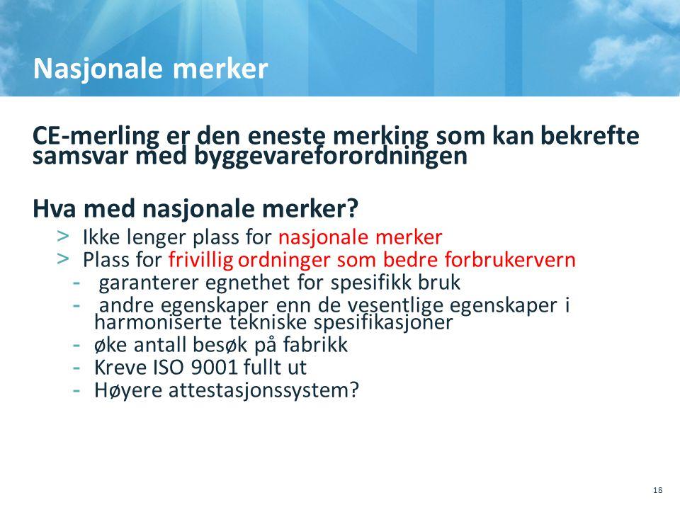 Nasjonale merker CE-merling er den eneste merking som kan bekrefte samsvar med byggevareforordningen Hva med nasjonale merker.