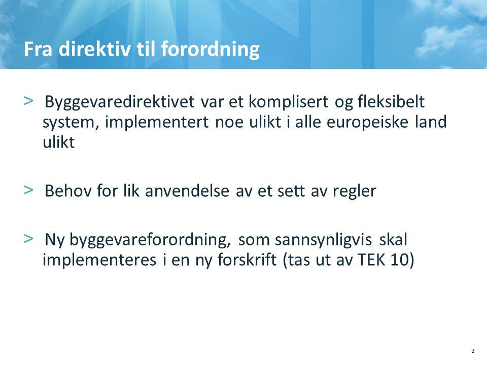 Fra direktiv til forordning 10.10.201110.10.2011, Sted, tema, Sted, tema 2 >Byggevaredirektivet var et komplisert og fleksibelt system, implementert n