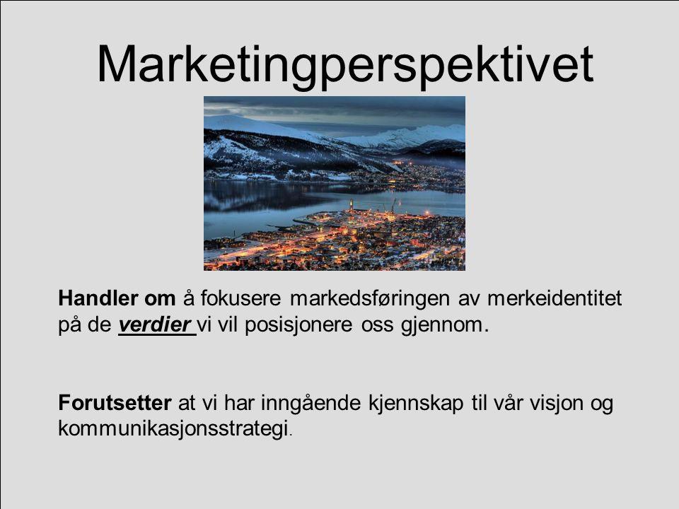 Marketingperspektivet Handler om å fokusere markedsføringen av merkeidentitet på de verdier vi vil posisjonere oss gjennom.