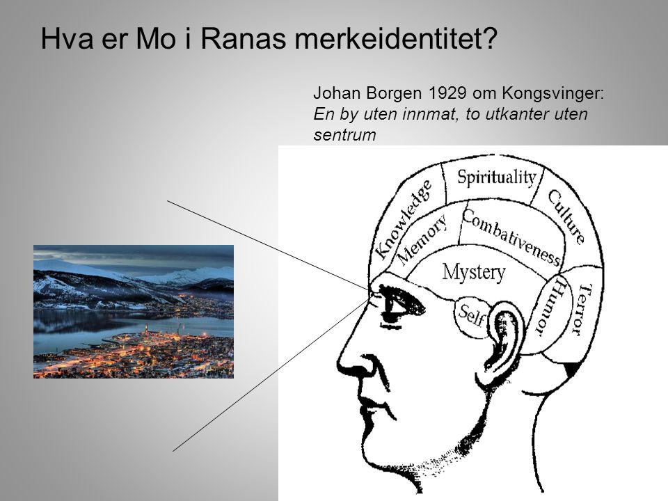 36 Johan Borgen 1929 om Kongsvinger: En by uten innmat, to utkanter uten sentrum Hva er Mo i Ranas merkeidentitet?