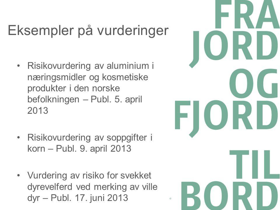 Eksempler på vurderinger •Risikovurdering av aluminium i næringsmidler og kosmetiske produkter i den norske befolkningen – Publ. 5. april 2013 •Risiko