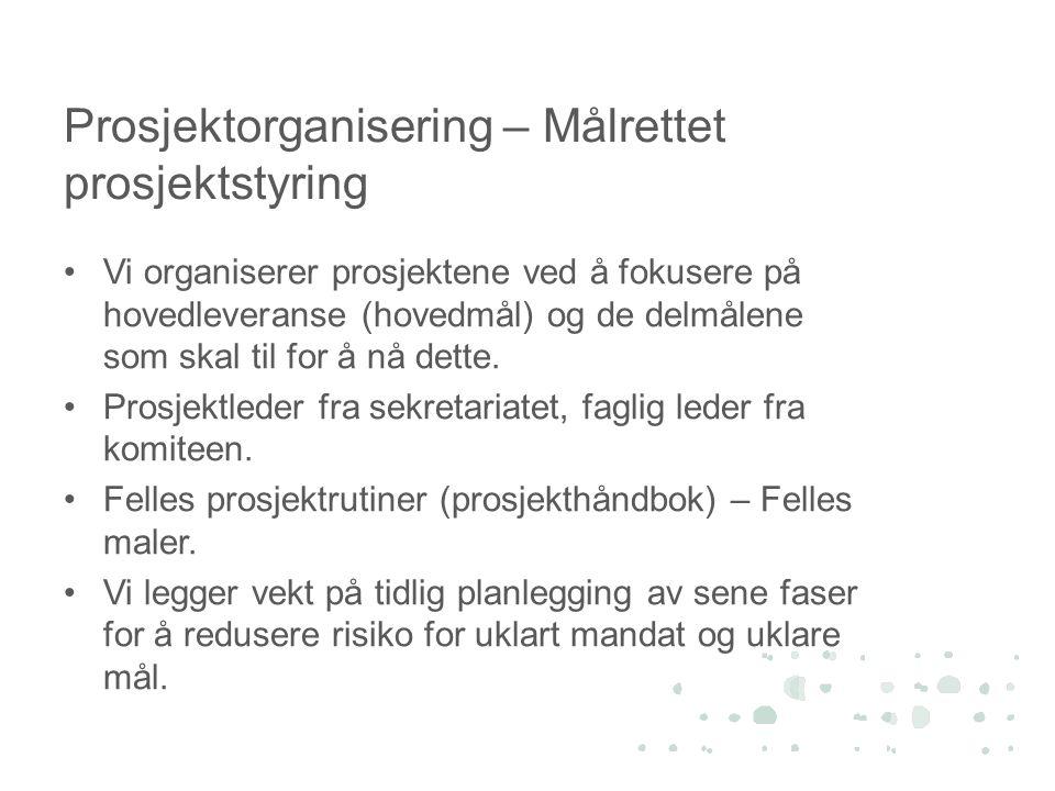 Prosjektorganisering – Målrettet prosjektstyring •Vi organiserer prosjektene ved å fokusere på hovedleveranse (hovedmål) og de delmålene som skal til