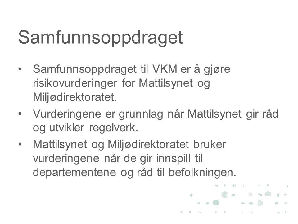 Samfunnsoppdraget •Samfunnsoppdraget til VKM er å gjøre risikovurderinger for Mattilsynet og Miljødirektoratet. •Vurderingene er grunnlag når Mattilsy
