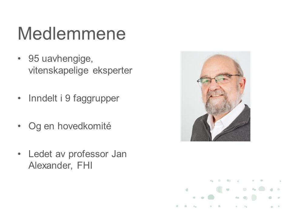Medlemmene •95 uavhengige, vitenskapelige eksperter •Inndelt i 9 faggrupper •Og en hovedkomité •Ledet av professor Jan Alexander, FHI