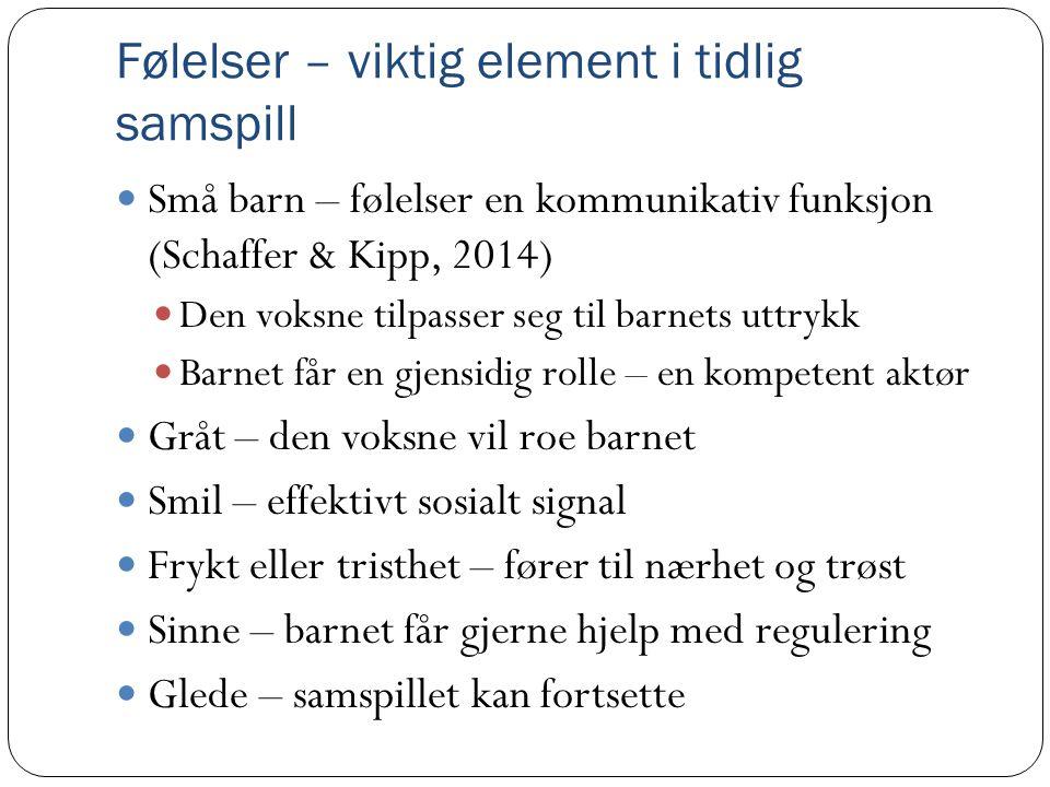 Følelser – viktig element i tidlig samspill  Små barn – følelser en kommunikativ funksjon (Schaffer & Kipp, 2014)  Den voksne tilpasser seg til barn