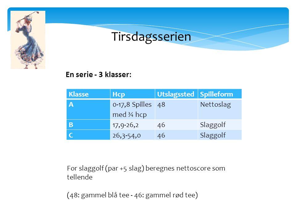 KlasseHcpUtslagsstedSpilleform A 0-17,8 Spilles med ¾ hcp 48Nettoslag B17,9-26,246Slaggolf C26,3-54,046Slaggolf En serie - 3 klasser: For slaggolf (par +5 slag) beregnes nettoscore som tellende (48: gammel blå tee - 46: gammel rød tee) Tirsdagsserien