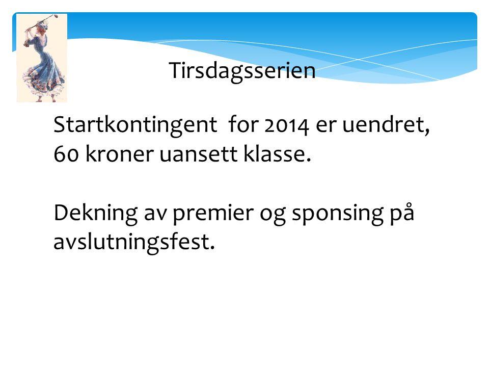 Startkontingent for 2014 er uendret, 60 kroner uansett klasse.