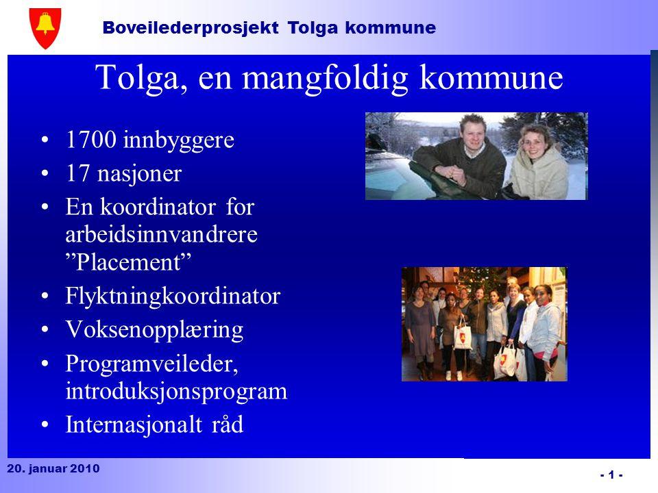 Boveilederprosjekt Tolga kommune 20. januar 2010 - 2 - Boveiledning Et prosjekt av Tolga kommune