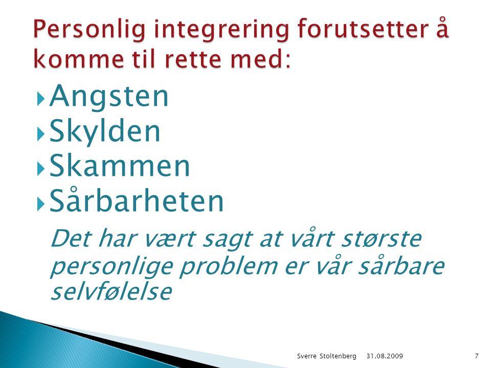  Angsten  Skylden  Skammen  Sårbarheten Det har vært sagt at vårt største personlige problem er vår sårbare selvfølelse 31.08.2009 Sverre Stoltenb