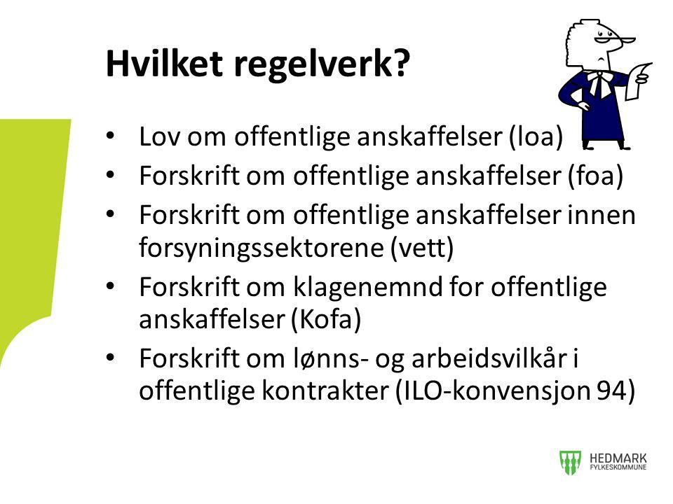 kr 1 kr 500.000 kr 1,6/40,5 mill FOA del III FOA del II FOA del I, Særregler for Norge, nasjonale bestemmelser og uprioriterte tjenester Ikke kunngjøringspliktige anskaffelser Regler som vi er pliktige til å ha pga.