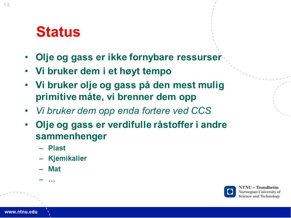 14 Status •Olje og gass er ikke fornybare ressurser •Vi bruker dem i et høyt tempo •Vi bruker olje og gass på den mest mulig primitive måte, vi brenner dem opp •Vi bruker dem opp enda fortere ved CCS •Olje og gass er verdifulle råstoffer i andre sammenhenger –Plast –Kjemikalier –Mat –…